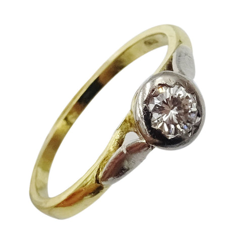 18ct Yellow Gold Vintage 0.25ct Diamond Single Stone Ladies Ring 2.4g Size L 1/2