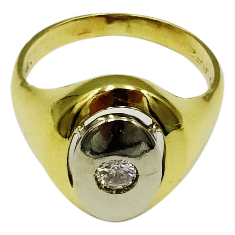 18ct Yellow Gold 0.18ct Diamond Oval Unisex Ring Size M 5.8mm