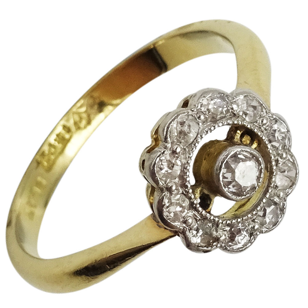 18ct Yellow Gold Vintage 0.20ct Diamond Flower Cluster Ladies Ring Size L 2.9g - Richard Miles Jewellers