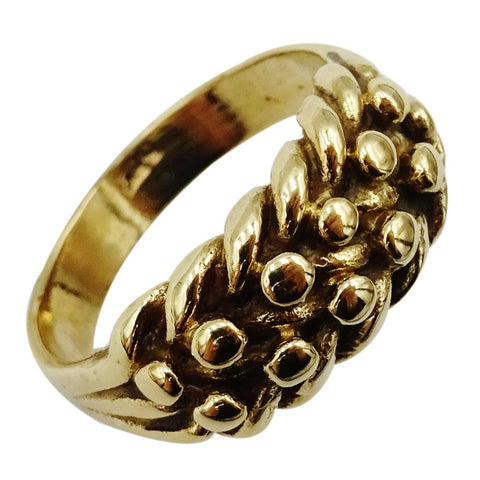 9ct Yellow Gold 375 Stamped Keeper Style Ladies Quality Ring 4.4g Size L 1/2