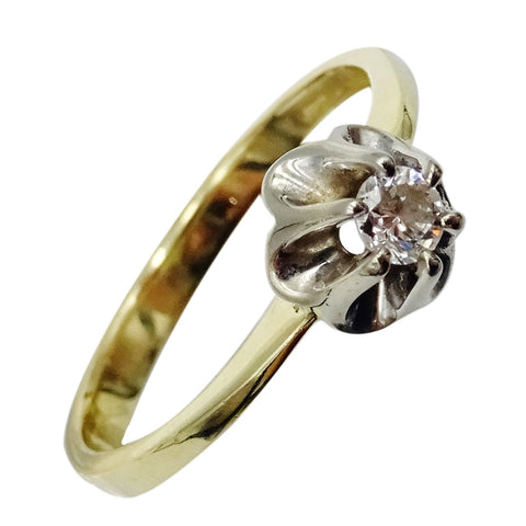 9ct Yellow Gold  0.08ct Diamond Stone Flower Claw Detail Ladies Ring 2.2g Size M