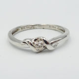 9ct White Gold Rope Detail Diamond Ring Size M - Richard Miles Jewellers