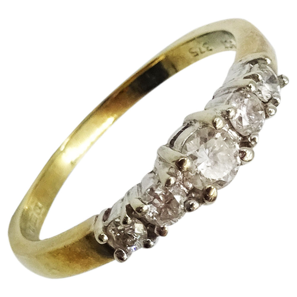 9ct Yellow Gold 0.30ct Clarity I1 Colour H Diamond Claw Set 5 Stone Eternity Ring Size J - Richard Miles Jewellers
