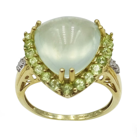 9ct Gold Peridot Light Green Cabochon Stone Diamond 0.05ct Diamond Dress Ring P - Richard Miles Jewellers