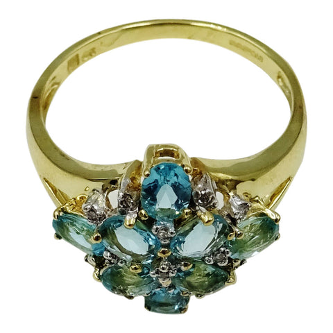 9ct Yellow Gold Hall Marked  Blue Topaz Cluster Ladies Ring Size P 2.7g