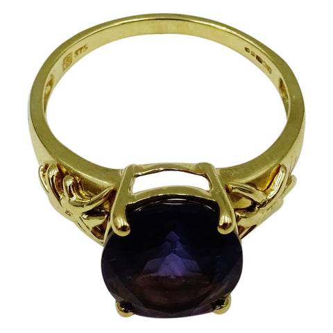 9ct Yellow Gold Claw Set Oval Amethyst Patterned Shoulders Ladies Ring 4g Size R