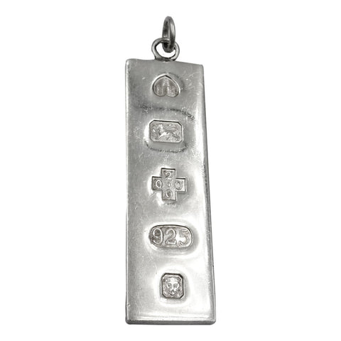 Sterling Silver 925 UK Hall Marked 2000 Ingot Pendant 42.8mm 11g - Richard Miles Jewellers