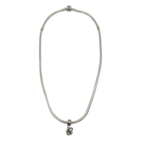 Pandora Authentic Snake Chain With Double Linked Heart Charm 17inch 2.8mm 32g