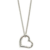 925 Sterling Silver 18inch Curb Chain & Shiny Finish Heart Ladies Pendant - Richard Miles Jewellers