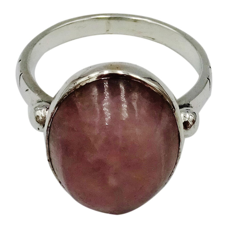 Sterling Silver Pink Oval Cabochon Finish Statement Ladies Ring Size O 5g - Richard Miles Jewellers