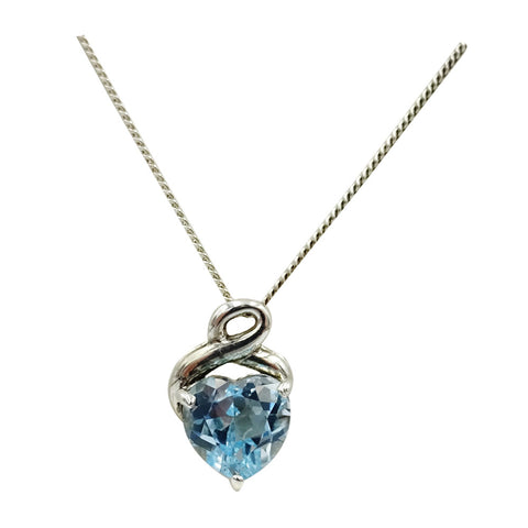Sterling Silver Swirl Claw Set Heart Topaz Ladies Pendant And Chain 18inch 4.2g