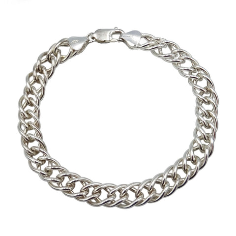 925 Sterling Silver Double Link Curb Chain Bracelet 9.8g - Richard Miles Jewellers