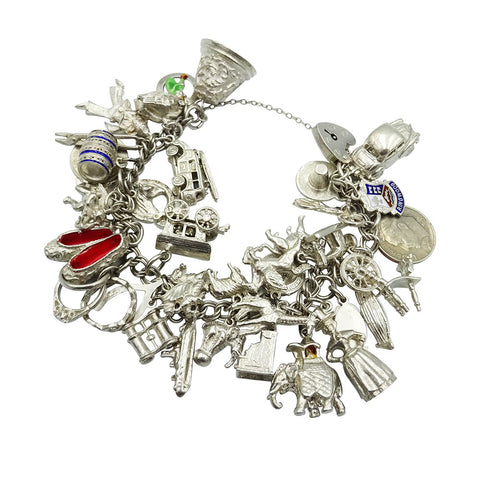 Sterling Silver Vintage Charm Bracelet With 38 Assorted Charms 96.7g - Richard Miles Jewellers