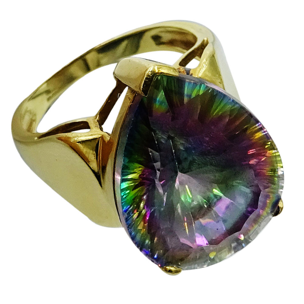 9ct Yellow Gold Large Coloured Mystical Tear Drop Stone Ring Size R 1/2 8.7g