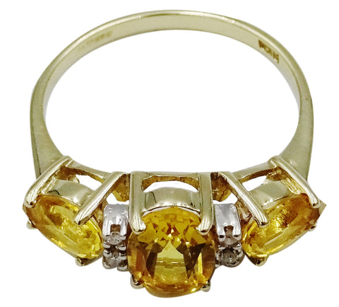 9ct Yellow Gold Claw Set Citrine Cubic Zirconia Ladies Dress Ring Size N 2.1g