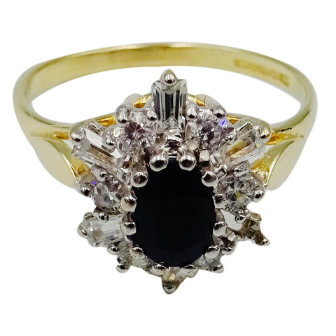 9ct Yellow Gold Oval Sapphire Cubic Zirconia Cluster Ladies Ring Size N 1/2 2.3g