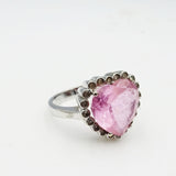 14ct White Gold Unique Pink Cubic Zirconia Heart Ladies Ring Size N 5.2g - Richard Miles Jewellers
