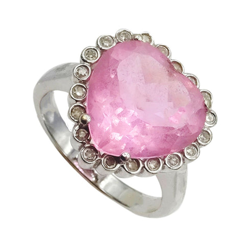 14ct White Gold Unique Pink Cubic Zirconia Heart Ladies Ring Size N 5.2g