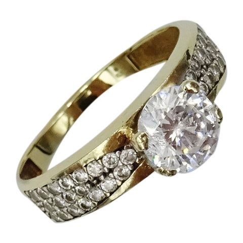 9ct Yellow Gold Cubic Zirconia Single Stone Dress Ladies Ring Size P 1/2 2.6g