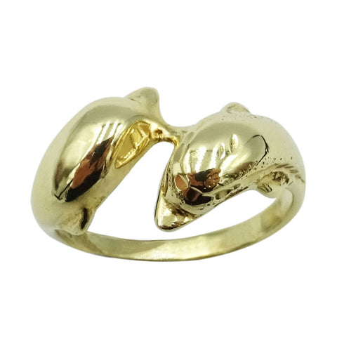 14ct Yellow Gold Ladies Dolphin Ring Size N 1/2 - Richard Miles Jewellers