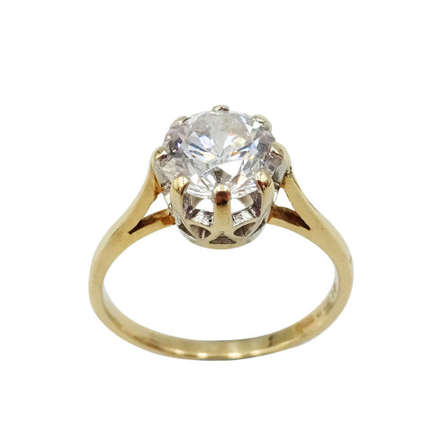 9ct Yellow Gold Large Cubic Zirconia Solitaire Ring Size Q