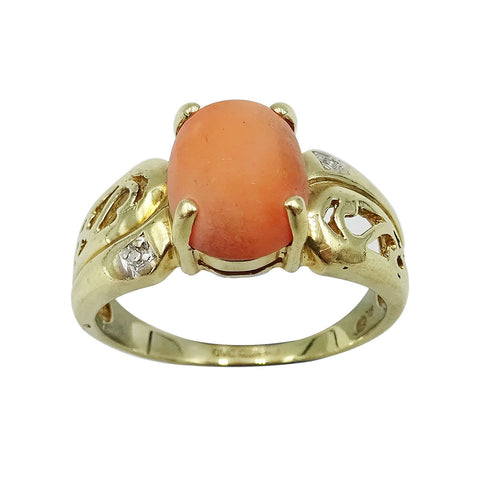 9ct Yellow Gold Cubic Zirconia & Pink Stone Ladies Dress Ring 3.8g - Richard Miles Jewellers
