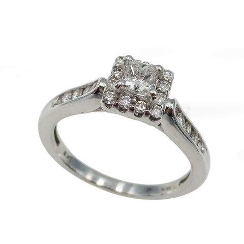 18ct White Gold Ladies Princess Cluster Engagement Ring 0.4ct - Richard Miles Jewellers