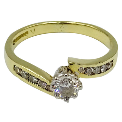 18ct Yellow Gold I1 G 0.50ct Diamond Engagement Ring Size N 3.1g