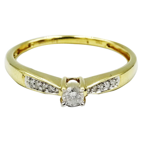 18ct Yellow Gold 0.10ct Diamond Ladies Engagement Ring Size N 1.7g