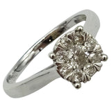9ct White Gold 0.50ct Diamond Cluster Ladies Sparkly Engagement Ring Size P 3g - Richard Miles Jewellers