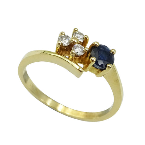 18ct Yellow Gold Sapphire & Diamond Ring 0.09ct Size L 1/2