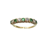9ct Yellow Gold Emerald & Cubic Zirconia Half Eternity Ring 1.32g Size J - Richard Miles Jewellers