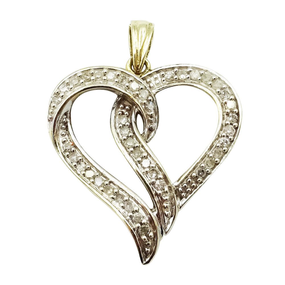 9ct Yellow Gold Diamond Encrusted Heart Ladies Pendant 0.25 ct - Richard Miles Jewellers