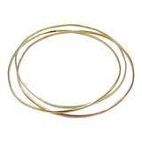 9ct 3 Colour Yellow Rose White Gold Quality Ladies Bangle 8.5inch 12.1g - Richard Miles Jewellers