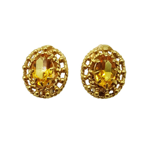 18ct Yellow Gold Oval Citrine French Clip Earrings 2.2g - Richard Miles Jewellers