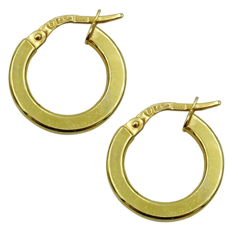 14ct Yellow Gold Plain Smooth Round 15mm Hoop Style Ladies Earrings 1g
