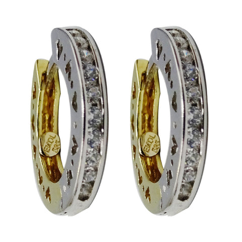 14ct Yellow White Gold Fancy Heart Detailed CZ Hug Style Hoop Earrings 18.9mm 6g - Richard Miles Jewellers