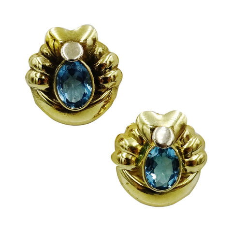 18ct Yellow Gold Fancy Oval Blue Topaz Ladies Stud Earrings 16.6mm 4.3g