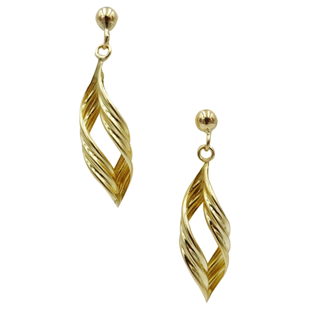 9ct Yellow Gold Twist Drop Style Ladies Stud Earrings 27.6mm - Richard Miles Jewellers