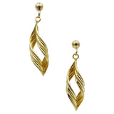 9ct Yellow Gold Twist Drop Style Ladies Stud Earrings 27.6mm