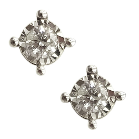 9ct White Gold 0.10ct Diamond Stone With Diamond Cut Border Stud Earrings 3.7mm - Richard Miles Jewellers