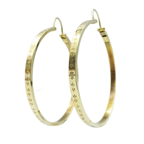 9ct Yellow Gold 42mm Debossed Pattern Ladies Hoop Earrings 4g - Richard Miles Jewellers