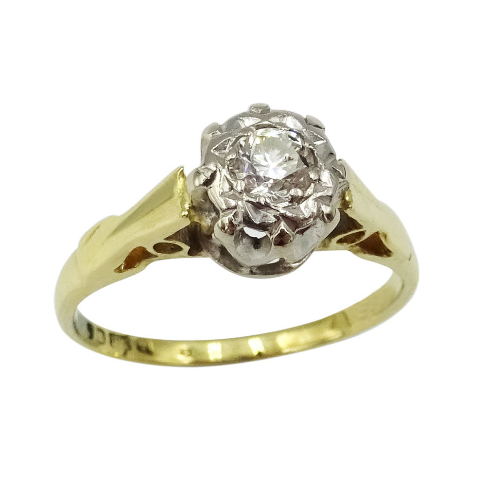 18ct Yellow Gold Vintage Illusion Set Diamond Ring 2.5g Size I - Richard Miles Jewellers