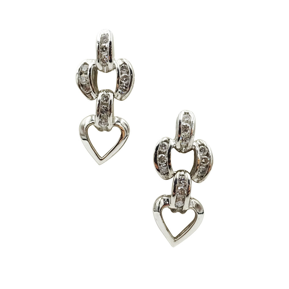 9ct White Gold Diamond Heart Stud Drop Earrings 1ct 4g - Richard Miles Jewellers