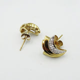 9ct Yellow Gold Fancy Diamond Swirl Ladies Stud Earrings 2g - Richard Miles Jewellers