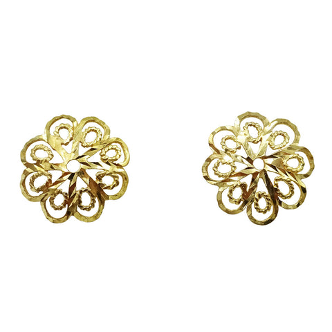 9ct Yellow Gold Detailed Flower Stud Earrings 1.1g - Richard Miles Jewellers