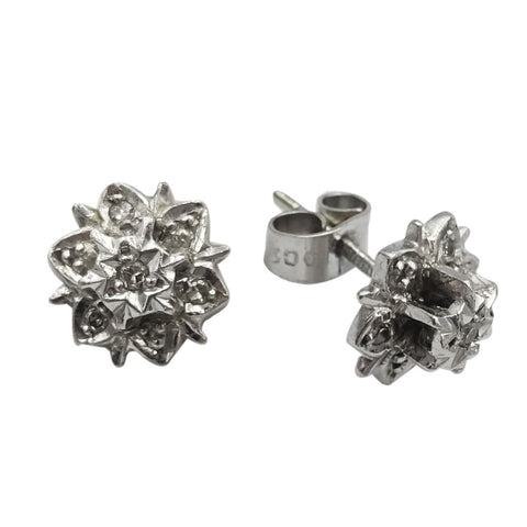 9ct White Gold 0.08ct Diamond Vintage Floral Ladies Stud Earrings 2.1g 9mm