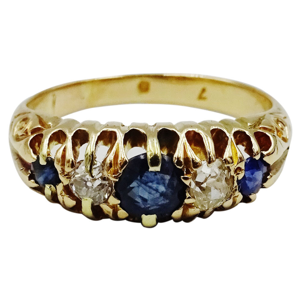 18ct Yellow Gold Vintage Seylon Sapphire 0.30ct Diamond Ladies Ring Size K 4.9g