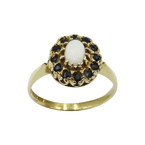 9ct Yellow Gold Opal & Sapphire Ladies Cluster Ring - Richard Miles Jewellers