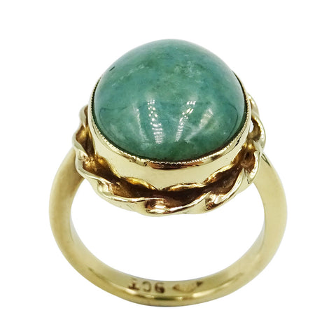 9ct Yellow Gold Large Green Stone Ladies Ring 5.5g